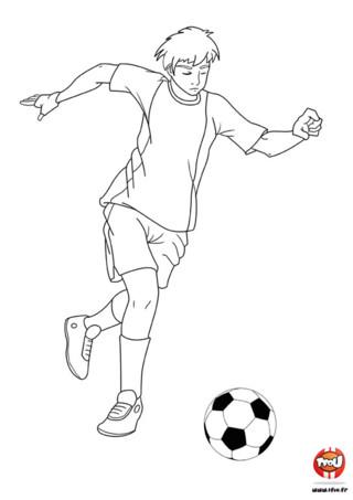 Coloriage : Tir au but. Si comme cet enfant tu es un champion de foot, tu peux imprimer ce coloriage gratuitement sur TFou.fr et le colorier le maillot de l'enfant aux couleurs de ton équipe favorite.