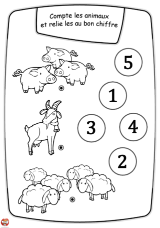 Coloriage: Les animaux et les chiffres