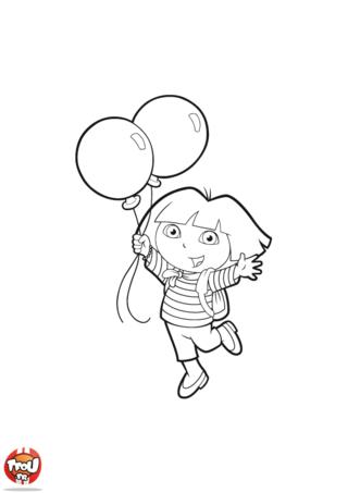 Coloriage: Dora et ballons
