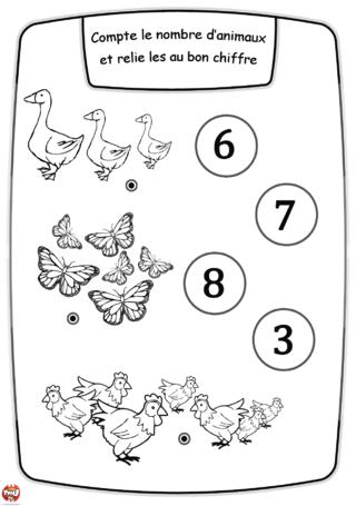 Coloriage: Les animaux et les chiffres2