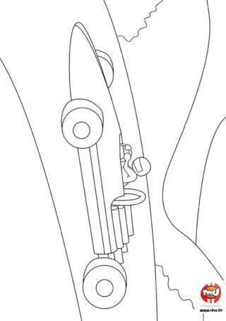 Coloriage : Formule 1 dans la nature. Imprime vite ce coloriage gratuit sur TFou.fr et fais la course avec ce conducteur de formule 1.