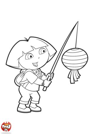 Coloriage: Dora pêche