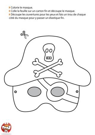 Tu as ton costume de pirate et tu n'as pas de masque ? TFou t'en offre un ! Imprime-le gratuitement et colorie-le ! Ton déguisement de pirate sera super grâce à ce masque de Carnaval.
