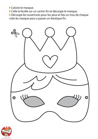 Si tu veux te déguiser en reine, ce masque de Carnaval est fait pour toi. Imprime-le vite sur TFou.fr, colorie-le de jolie couleurs et tu seras la plus belle !