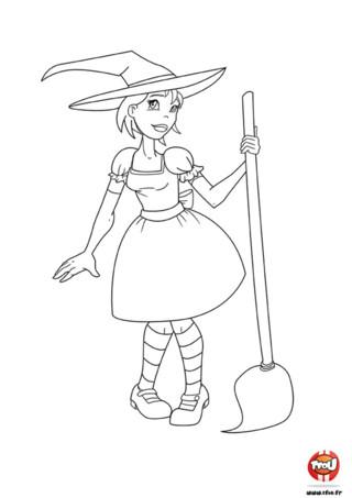 Cette sorcière t'attend pour Halloween sur TFou.fr ! Imprime vite ce coloriage gratuit spécialement conçu pour la fête des sorcières. Colorie la sorcière et son balai car elle n'attend plus que tes couleurs pour pouvoir s'envoler, et partir à l'aventure en ce jour magique du 31 octobre ! Cette sorcière est très jolie, elle porte une super robe avec un noeud derrière et des chaussettes à rayures. Comme toutes les autres sorcières, elle a un beau chapeau sur la tête. Prépare-toi pour Halloween avec ce coloriage pour enfant.