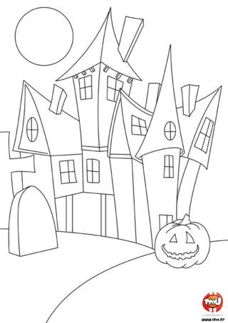 Imprime ce coloriage gratuit d'halloween sur TFou.fr ! Ce coloriage représente un château hanté, dans lequel vivent des fantômes et des chauves-souris. Devant le château, une citrouille magique surveille la venue des visiteurs étrangers. Éclate-toi vite à colorier ce coloriage à imprimer pour enfant spécialement proposé pour la fête d'Halloween. Mets-y toutes les couleurs dont tu as envie et entre dans le monde mystérieux d'Halloween !