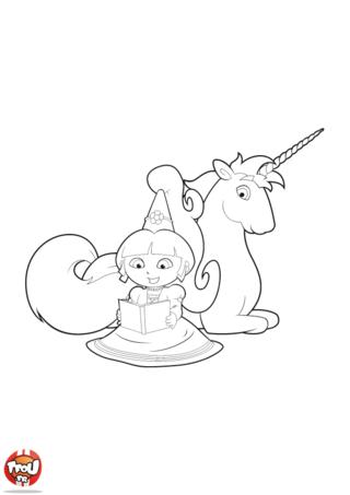 Coloriage: Dora et la licorne