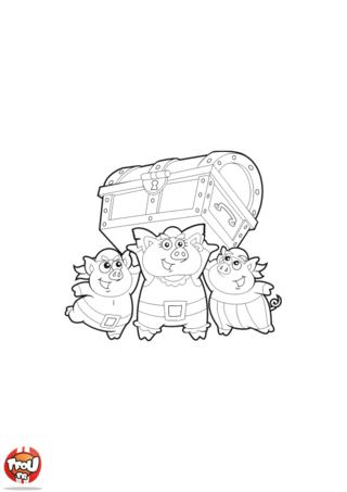 Coloriage: Les petits cochons et le coffre