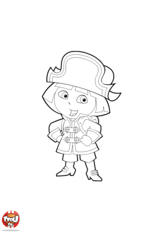 Coloriage: Dora en pirate 2