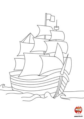 Coloriage : Bateau pirate. Imprime ce coloriage gratuitement sur TFou.fr, et navigue avec les pirates au gré du vent.