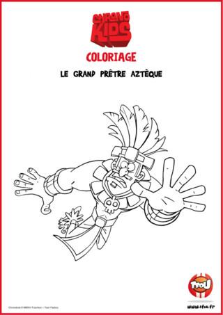 Découvre le Grand Prêtre Aztèque tout droit venu du passé ! Adèle et Marvin, les héros de la série Chronokids font des voyages dans le temps et sont retournés au temps des Aztèques ! Imprime gratuitement ton coloriage du Grand Prêtre Aztèque de la série Chronokids ! Amuse-toi vite avec ce coloriage des Chronokids sur TFou.fr !