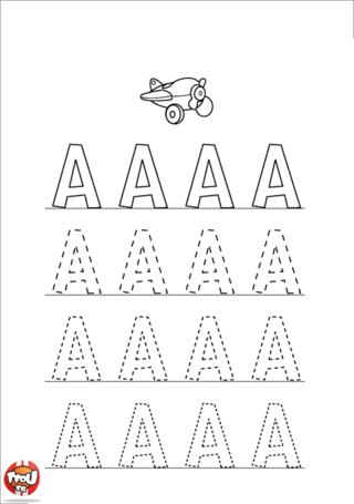 Coloriage: La lettre A en majuscule