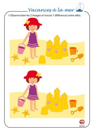 Activités : Aimes-tu faire des châteaux de sable au bord de la mer ? C'est vraiment très sympa de construire un beau château près de l'eau. Sur cette image, la petite fille et son château de sable ont l'air identique. Ce n'est pas le cas. Retrouve les 7 différences que comportent ces deux images. Regarde bien, elles sont bien cachées. Sur TFou.fr, tu trouveras plein d'activités à imprimer gratuitement pour passer de super vacances. Retrouve plein d'autres activités à imprimer pour les vacances sur TFou.fr. Tu vas bien t'amuser.