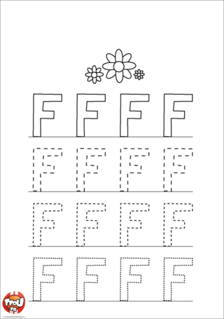 Coloriage: La lettre F en majuscule