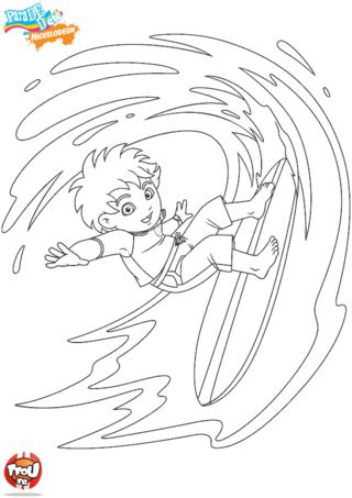 Coloriage: Diego surfe la déferlante
