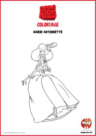 Marvin et Adèle utilisent leur chronophone pour voyager dans le temps ! Dans leurs aventures ils vont remonter à l'époque de Louis XIV et de Versailles ! Imprime gratuitement ce coloriage sur TFou.fr amuse-toi à colorier Marie-Antoinette !