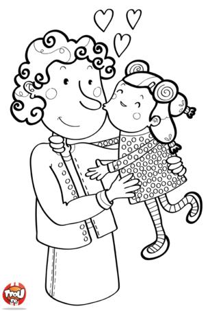 Les mamies adorent les bisous de leurs petits enfants. Ce coloriage lui fera très plaisir. Prends tes plus beaux crayons de couleurs et imprime des coloriages Fête des grand-mères.