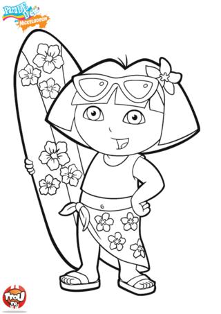 Coloriage: Dora la surfeuse