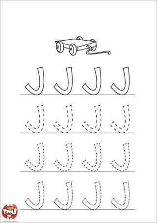 Coloriage: La lettre J en majuscule