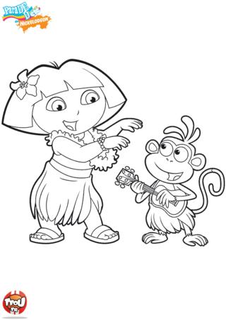Coloriage: Dora et Babouche à Tahiti