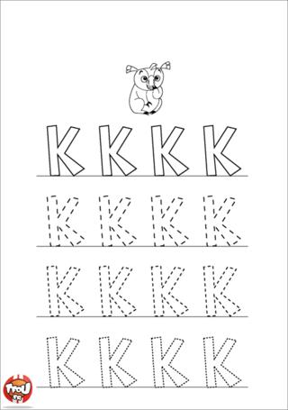 Coloriage: La lettre K en majuscule