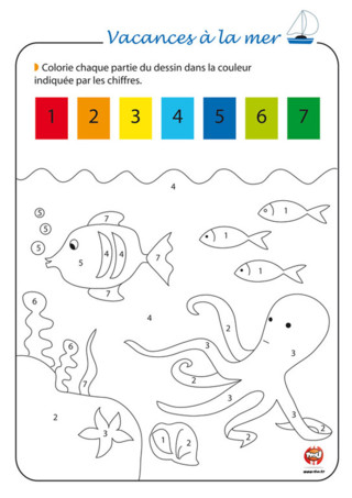 Activité : Avec TFou.fr, à la plage, c'est activité coloriage ! Imprime vite ce coloriage magique. Prends les couleurs proposées par TFou. Les couleurs ont chacune un numéro correspondant à la couleur. C'est magique ! En coloriant, tu découvriras le dessin qui se cache. Profite de tes vacances à la mer pour laisser parler ta créativité ! Imprime vite toutes les activités vacances à la mer sur TFou.fr pour passer de super vacances !
