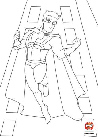 Coloriage : Super héros qui saute. Les super héros TFou volent entre les immeubles et ont des super pouvoirs ! Alors imprime vite ton coloriage de super héros gratuitement sur TFou.fr et colorie-le avec les couleurs de ton choix. A tes crayons !