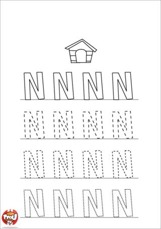 Coloriage: La lettre N en majuscule