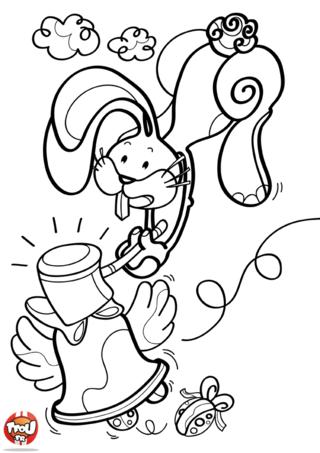 Coloriage : ce beau lapin est pressé ! Et oui, Il doit sonner la Cloche de Pâques pour lancer la traditionnelle chasse aux oeufs en chocolats de Pâques. Si toi aussi tu veux participer à cette grande chasse spéciale Pâques alors dépêche-toi d'imprimer ce coloriage gratuitement sur TFou.fr. Aide les lapins à réussir leur chasse pour ensuite déguster tous les chocolats de Pâques ! Passe des vacances incroyables avec TFou.fr en coloriant les beaux dessins disponibles pour Pâques sur TFou.fr avec tes plus beaux crayons de couleur!