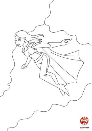 Coloriage : Héroïne qui vole. N'as-tu jamais rêvé d'avoir le pouvoir de voler ? Alors imprime vite ce coloriage de super héros et colorie-le avec les couleurs de ton choix.
