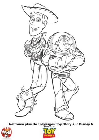 Coloriage: Woody et Buzz l'éclair