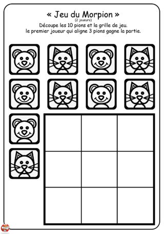 Coloriage: Morpion chat et souris