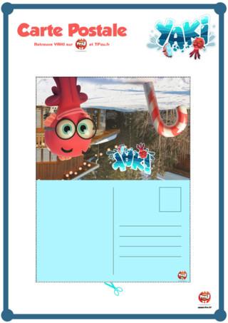 Yaki le poulpe de Poulpésie en mission chez les humains pour découvre Noël, te propose cette superbe carte postale. C'est la carte postale que Yaki envoie à tous ses amis pour leur parler de son expérience de Noël chez les humains. Imprime vite cette activité pour enfant spécial Noël sur TFou et envoie cette magnifique carte postale aux personnes que tu veux !