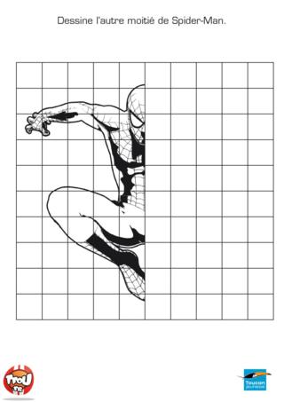 Coloriage: Dessine l'autre moitié de Spiderman