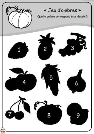 Coloriage: Les ombres des fruits et légumes