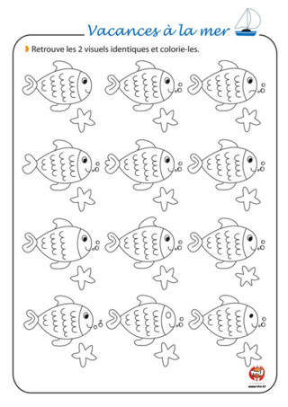 Activité : Es-tu observateur ? Retrouve les poissons identiques et associe-les par paire. Bravo, tu as réussi ! Afin que les poissons soient tous différents, choisis tes plus beaux crayons de couleurs pour les colorier comme tu le souhaites. Si tu es en vacances à la mer, retrouve plein d'activités à imprimer gratuitement sur la thématique de tes vacances : la mer, les coquillages, les îles, le sable... TFou.fr a pensé à tout ! Découvre plein d'autres activités à imprimer gratuitement sur TFou. Avec TFou.fr, passe de super vacances à la mer !