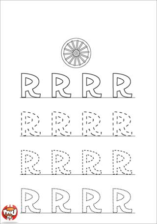 Coloriage: La lettre R en majuscule