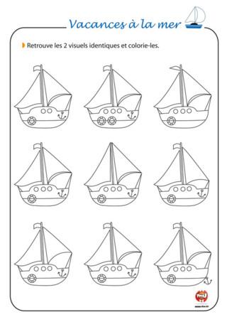 Activité : Un petit jeu pour les vacances : associe les bateaux identiques entre eux ! Cela peut paraitre simple au début mais il n'en est rien. Observe bien les modifs, les détails et la forme de ces différents bateaux et associe-les. Il faut qu'ils soient totalement identiques. Sur TFou.fr, découvre une multitude de jeux à imprimer gratuitement. Sur TFou.fr, tu trouveras des jeux à colorier, à découper, à décorer.... Amuse-toi vite sur TFou.fr pendant les vacances.