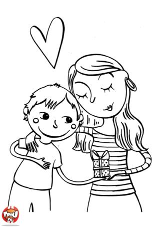 Coloriage : ce petit garçon offre un cadeau à sa maman, c'est à l'occasion de la fête des mères ! Sa maman tellement heureuse de ce cadeau le remercie en lui faisant un câlin. C'est un coloriage plein d'amour qui vient fêter les mamans en ce jour si spécial. Imprime ce coloriage, pour toi maman de la rubrique fête des mères sur TFou, sors tes crayons de couleurs et colorie-le. Ce sera un beau cadeau à offrir à ta maman le jour de la fête des mères. Imprime-les tous, les coloriages sur TFou.fr, c'est gratuit !