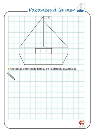 Activité : Durant les vacances, on a le temps de faire plein d'activités. On peut faire du sport, se balader, découvrir de nouvelles activités ! Pour les vacances, TFou.fr te propose plein d'activités à imprimer gratuitement. Sais-tu dessiner ? Avec TFou, tu peux apprendre à dessiner grâce au quadrillage de ce dessin de bateau. Reproduis le dessin à l'aide des carreaux. Facile, non ? A toi de dessiner et de colorier ce joli bateau ! Découvre aussi plein d'autres activités pour les vacances sur TFou.fr. Vive les vacances avec TFou !