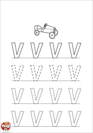 Coloriage: La lettre V en majuscule