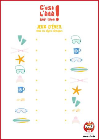 Joue avec TFou.fr pendant tes vacances ! Joue à ce jeux d'éveil spécial vacances ! Amuse-toi à relier les objets entre eux ! C'est très amusant ! Tu peux t'amuser à le faire avec ta famille ou tes amis ! Retrouve plein d'autres jeu pour t'occuper pendant tes vacances sur TFou.fr !