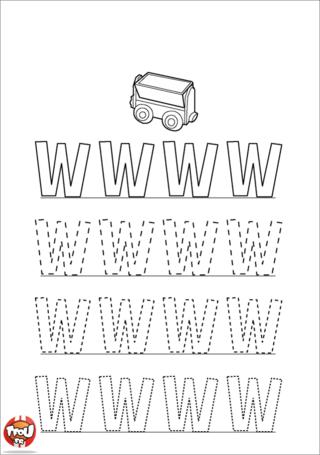 Coloriage: La lettre W en majuscule