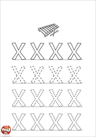 Coloriage: La lettre X en majuscule
