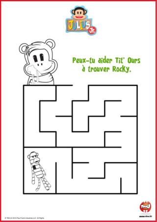 Julius Jr t'a réservé une super activité gratuite pour enfant sur TFou.fr. Imprime vite ce labyrinthe Tit'Ours et aide Tit'Ours à retrouver Rocky, sa chaussette singe.