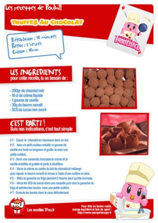 Activité : Recette truffes. Imprime vite ta recette et aide Poulbill à faire des truffes au chocolat.