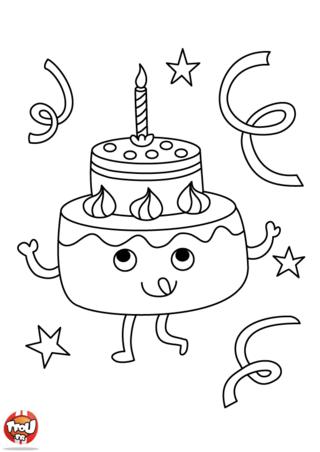 Coloriage gateau d anniversaire facile meilleur travail - Dessin d anniversaire facile ...