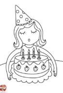 4 bougies à souffler - Fille