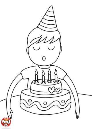 Coloriage: 4 bougies à souffler - garçon