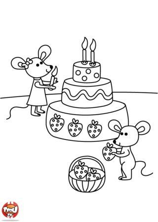 Coloriage: L'anniversaire des souris